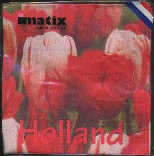 Paper Napkins -- Red and Pink Tulips -- Holland
