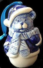 Santa Bear Ornament --  8.5cm tall