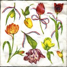 Paper Napkins -- Tulips and Dutch Ribbons -- 20 Napkins