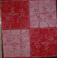 Tea Towel -- Red with Cows -- 26x26 inches