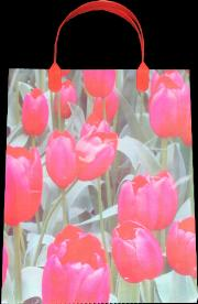Red Tulip Plastic Tote Bag 23cm x 30cm