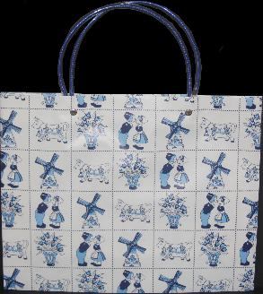 Plastic Tote Bag -- white with blue Dutch scenes -- 33cm x 27cm