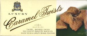 Luxury Caramel Twists 10 Biscuits 100g