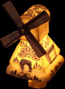 Bosman Porcelain Windmill Night Light for USA sockets
