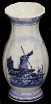 Delft Blue Handpainted Ribbed Vase 8in x 3in