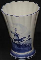 Delft Blue Handpainted Large Fluted Vase 22cm