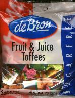 de Bron Suikervrije Fruit & Juice Toffees -- Sugar Free  90g