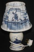 Delfts Lamp with Lampshade -- 9 1/2 inches tall -- Delft