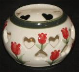 Delft Blue Handpainted Heart Shaped Votive - Red Tulips