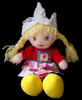 Cute Rag Doll in Traditional Dutch Clothing -- Red style doll.