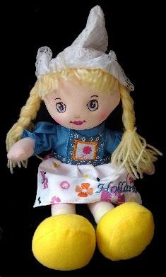 Cute Rag Doll in Traditional Dutch Clothing -- Blue Style Doll