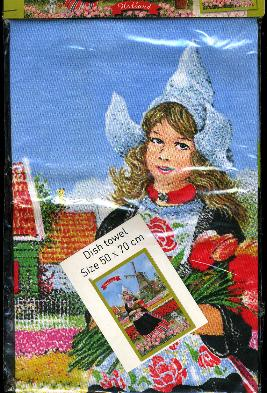 Dutch Girl in Tulip Field --  Dish Towel 50x70cm