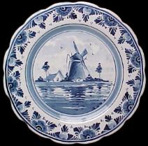DeWit Delft Plate with windmill. -- Delft Holland -- Handpainted