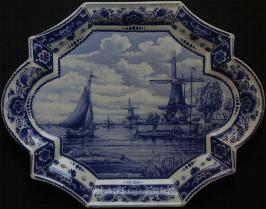 Delft Wall Hanging 35cm wide with holes to hang 13.5 X 10.5 inch