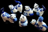 Delfts Porcelain Cats 4-5cm set of six