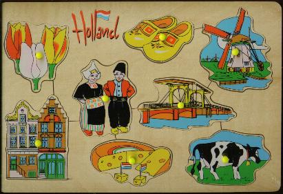 Childrens 8 Piece Wooden Dutch Puzzle says Holland