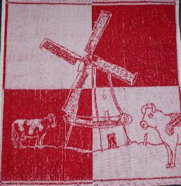 Red and White Kitchen Towel with Windmill and Cows 20 X 20 Inche