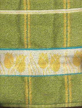 Kitchen Towel - Green with yellow tulips