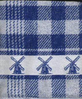 Kitchen Towel --Blue and White with Windmill Border