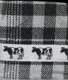 Kitchen Towel -- Black and White with Cow Border -- 50X50cm