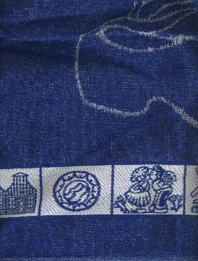 Kitchen Towel -- Blue with Pretty Dutch Border -- 50X50cm