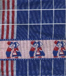 Kitchen Towel -- Blue, Red and White with Kissing Couple Border