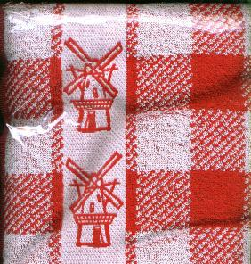 Kitchen Towel Red with Windmills 100% Cotton 50cm