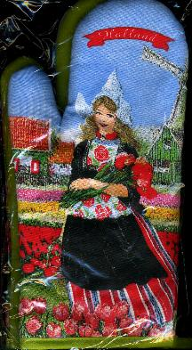 Dutch Girl in Tulip Field -- 2 Oven Mitts