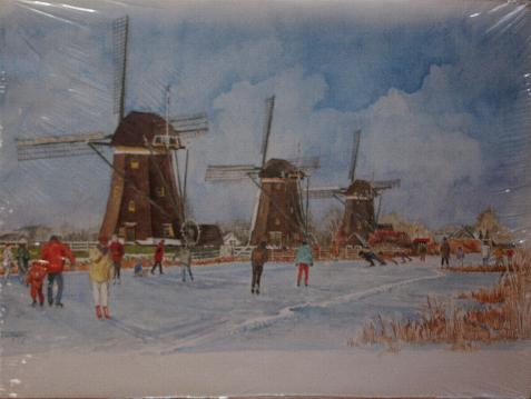 Print -- Winter Scene -- Skaters and Windmills