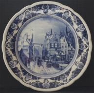 Delft Blue Plate -- Winter in the City 22cm