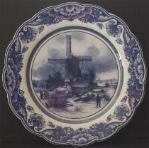Delft Blue Plate -- Winter Windmill 22cm
