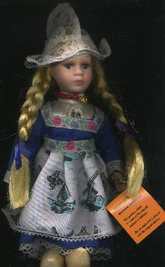 Porcelain Doll -- Dutch Girl in Traditional Blue Dress -- 26cm