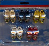 Small Holland Wooden Shoe Magnet 5pk - 4cm