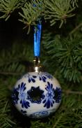 Delfts Ball Ornament with Star Cutout. 5cm