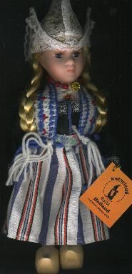 Porcelain Doll -- Dutch Girl in Traditional Striped Dress -- 26c