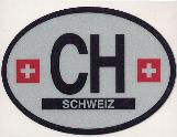 Oval Reflective Decal -- Switzerland