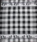 Tea Towel -- Black with Town Border -- 65X60cm