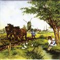 Farmer plowing with horses
