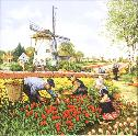 Tile 008 -- Tulip picking -- 6x6 inches