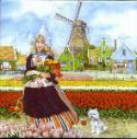 Tile 016 -- Girl with tulips -- 6x6 inches