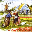 Tile 026 -- Boy and Girl with Tulips and Ducks --says Holland--
