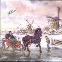 Tile 033 -- Frisian Sleigh on Ice says Holland Tile -- 6x6 in