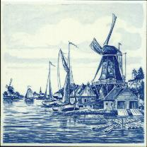 Tile # 040 Delft Blue Lumber Windmill