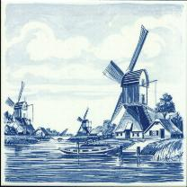 Tile # 041 Delft Blue Polder Windmill