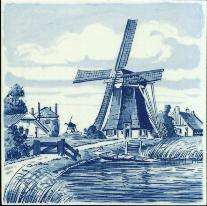 Tile # 043 Delft Blue Grain Windmill