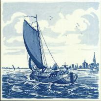 Tile # 044 Delft Blue Sailboat