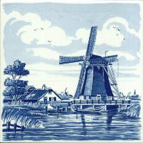 Tile # 045 Delft Blue Windmill with house
