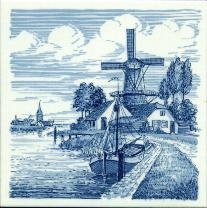 Tile # 046 Delft Blue Windmill with docked boat