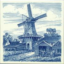 Tile # 048 Delft Blue Windmill with barns