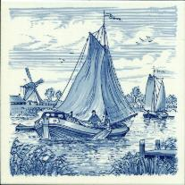 Tile # 049 Delft Blue Sailboats
